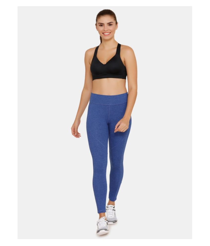 Zelocity Blue Cotton Solid Tights