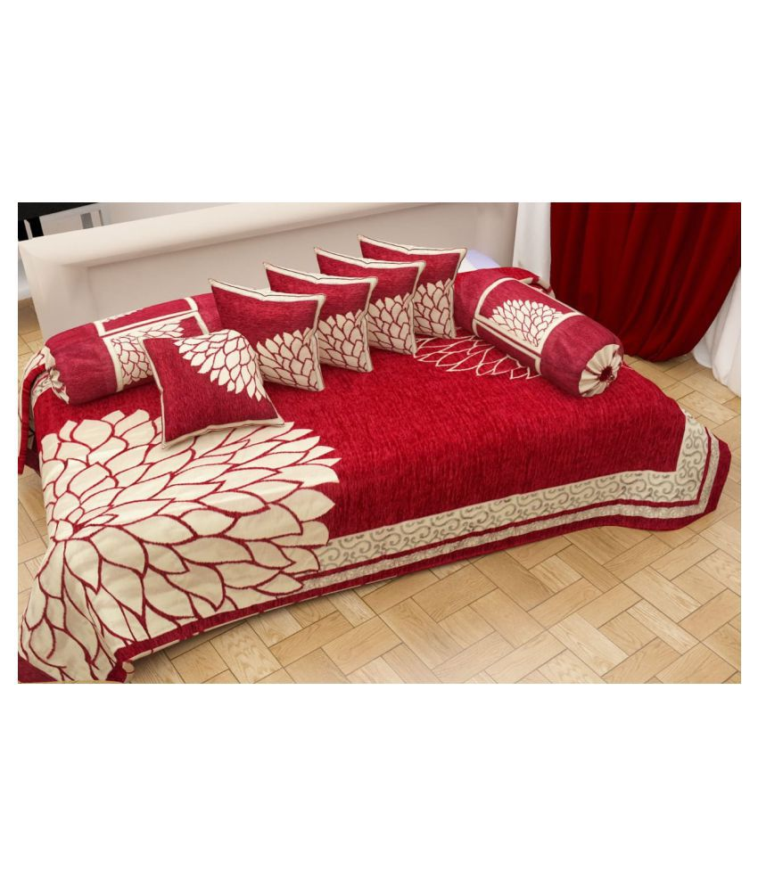 KTB TRENDS Chenille Multi Abstract Diwan Set 8 Pcs