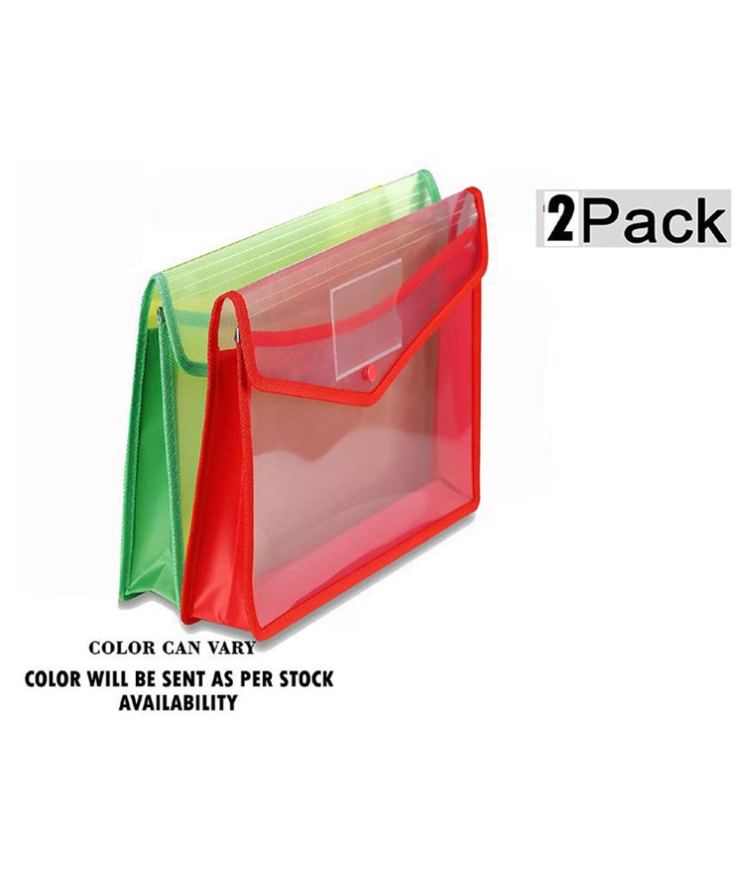 Transparent Poly-Plastic A4 Documents File Storage Bag With Snap Button (Set Of 2)