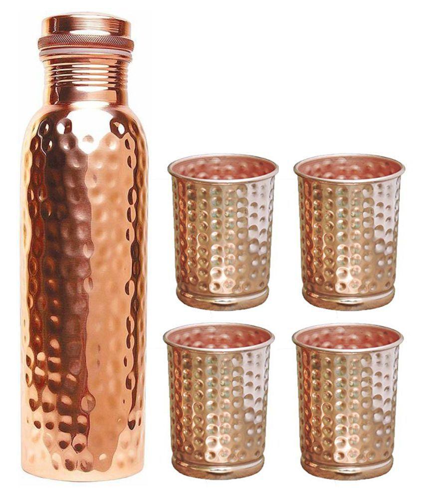 UNICOP Copper Bottle Glass 5 Pcs Lemon set