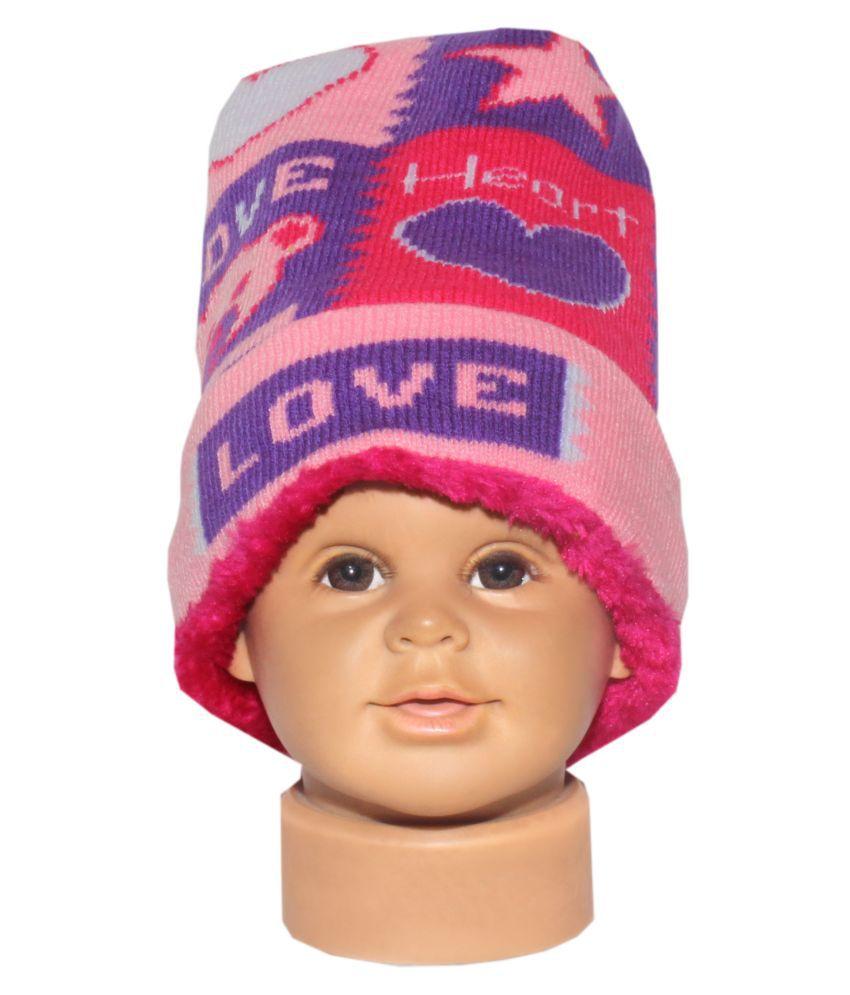 Goodluck Winter Caps for Kids (Pink)