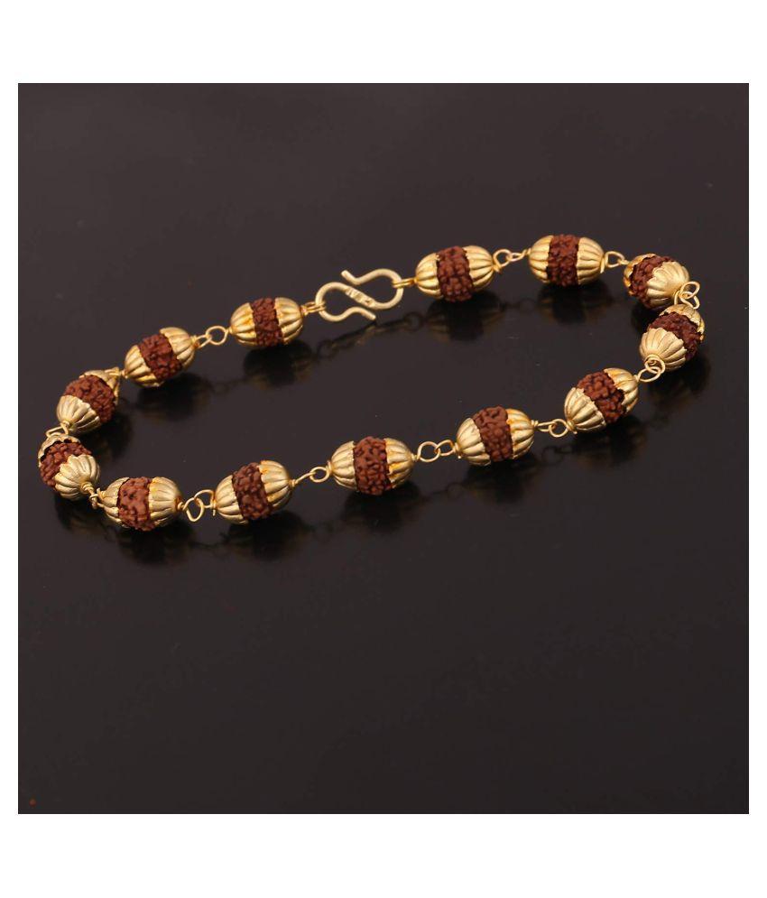 Golden Cap 5 Mukhi Rudraksha Bracelet for Unisex