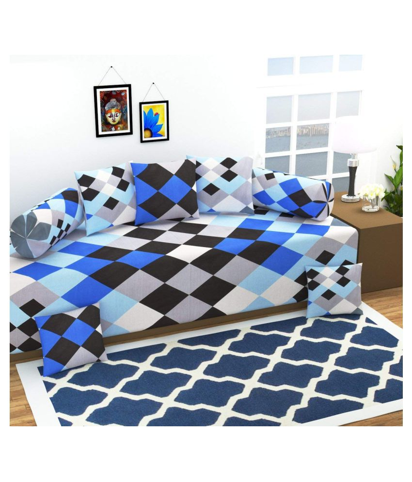 Homefab India Cotton Blue Checks Diwan Set 8 Pcs