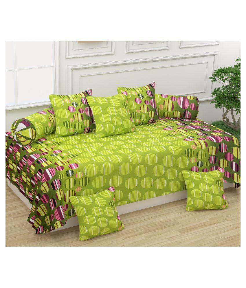 Homefab India Cotton Green Polka Diwan Set 8 Pcs