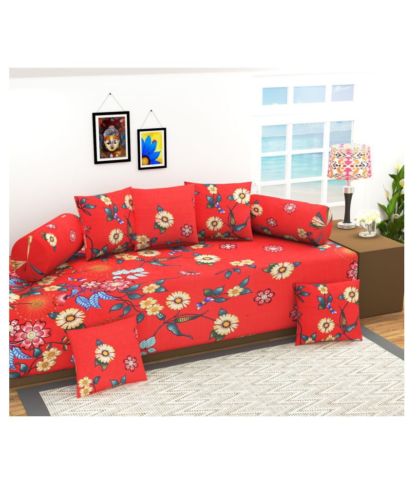 Homefab India Poly Cotton Red Floral Diwan Set 8 Pcs