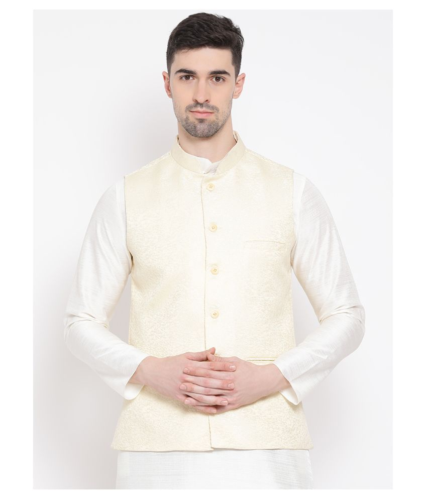 Namaskar White Silk Nehru Jacket