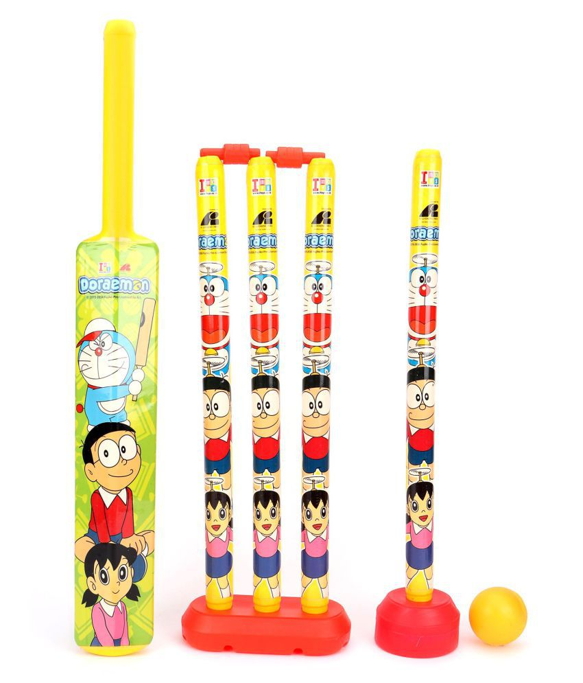 Fastdeal Cartoon Theme Plastic Cricket Set with Bat,Balls, Wickets,Bells Indoor And Outdoor Play Set For Kids (Multicolor)