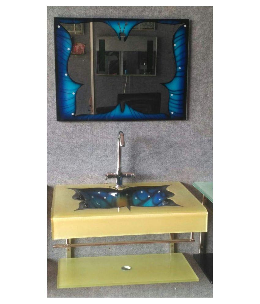 HIMANS Blue Toughened Glass Wall Hung Wash Basins