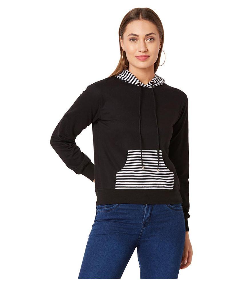 Miss Chase Cotton Black Non Hooded Sweatshirt