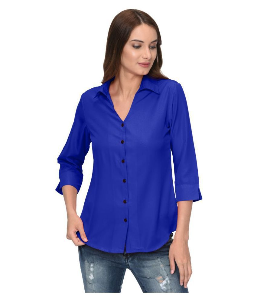 Thisbe Blue Poly Crepe Shirt