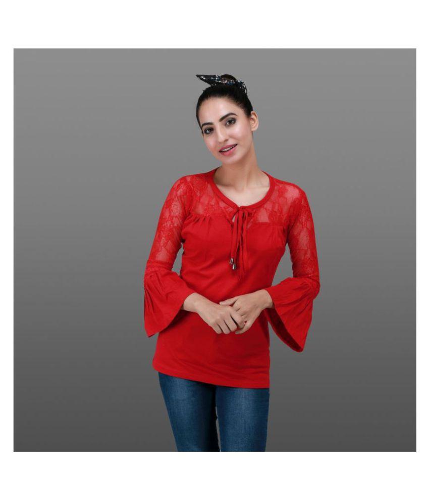 Sane Moda Cotton Red T-Shirts