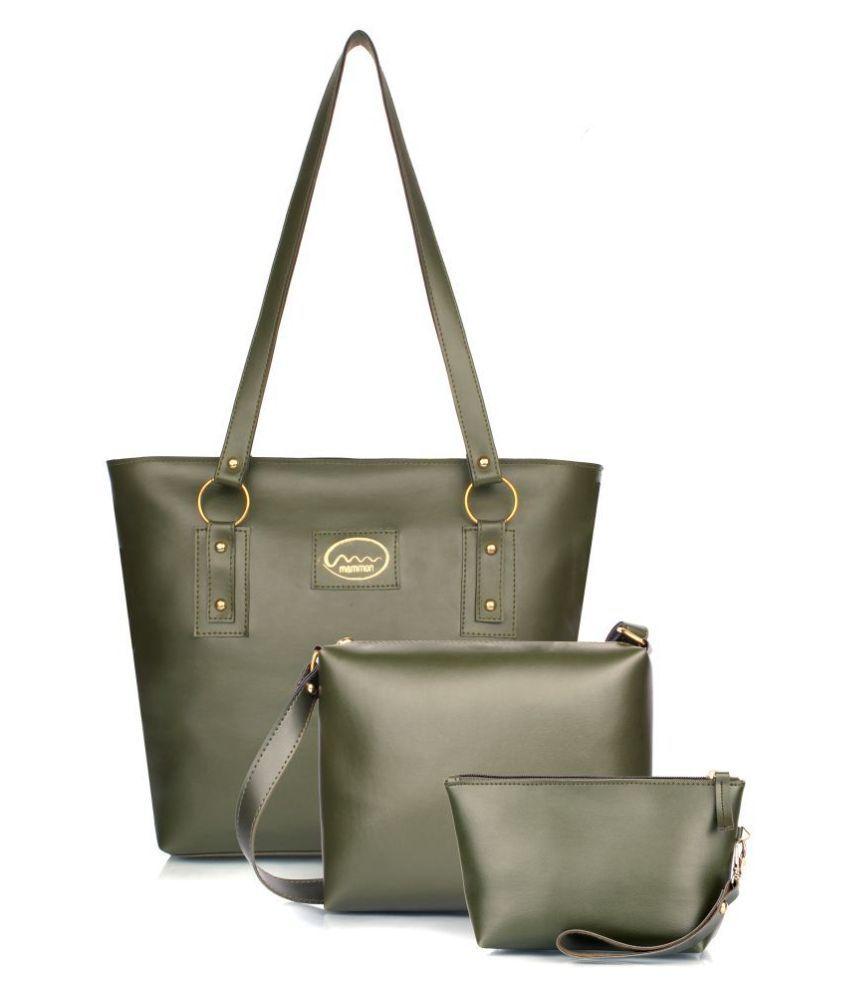 Mammon Green P.U. Shoulder Bag