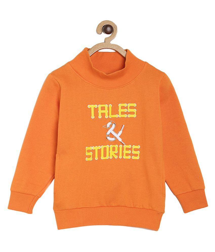 Tales & Stories Boys Orange Solid Cotton High Neck Sweatshirt