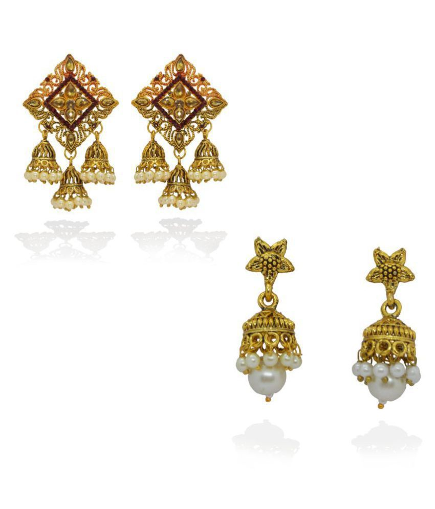 j. j. jewellers Traditional Gold Plated Pearl Moti jhumka earrings for women and girls