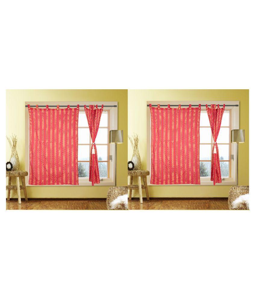 Kalaa Set of 4 Window Semi-Transparent Eyelet Cotton Curtains Red
