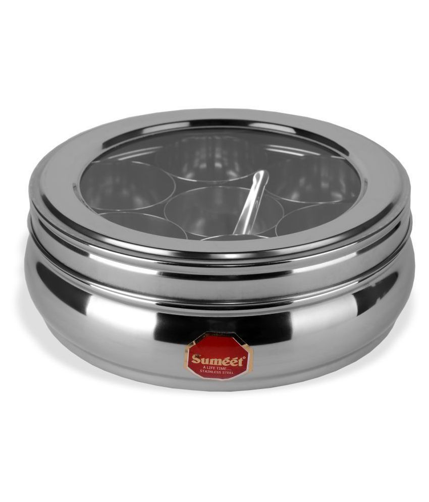 Sumeet Stainless Steel Spice Container Set of 8 1500 mL