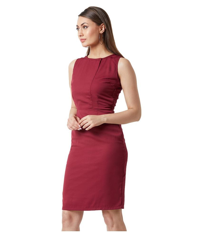 Miss Chase Crepe Maroon Shift Dress