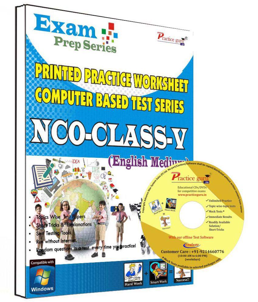 Practice Guru 26 Test ,10 Previous Year Paper,10 Worksheet (Printed) for 5 Class NCO Exam  CD