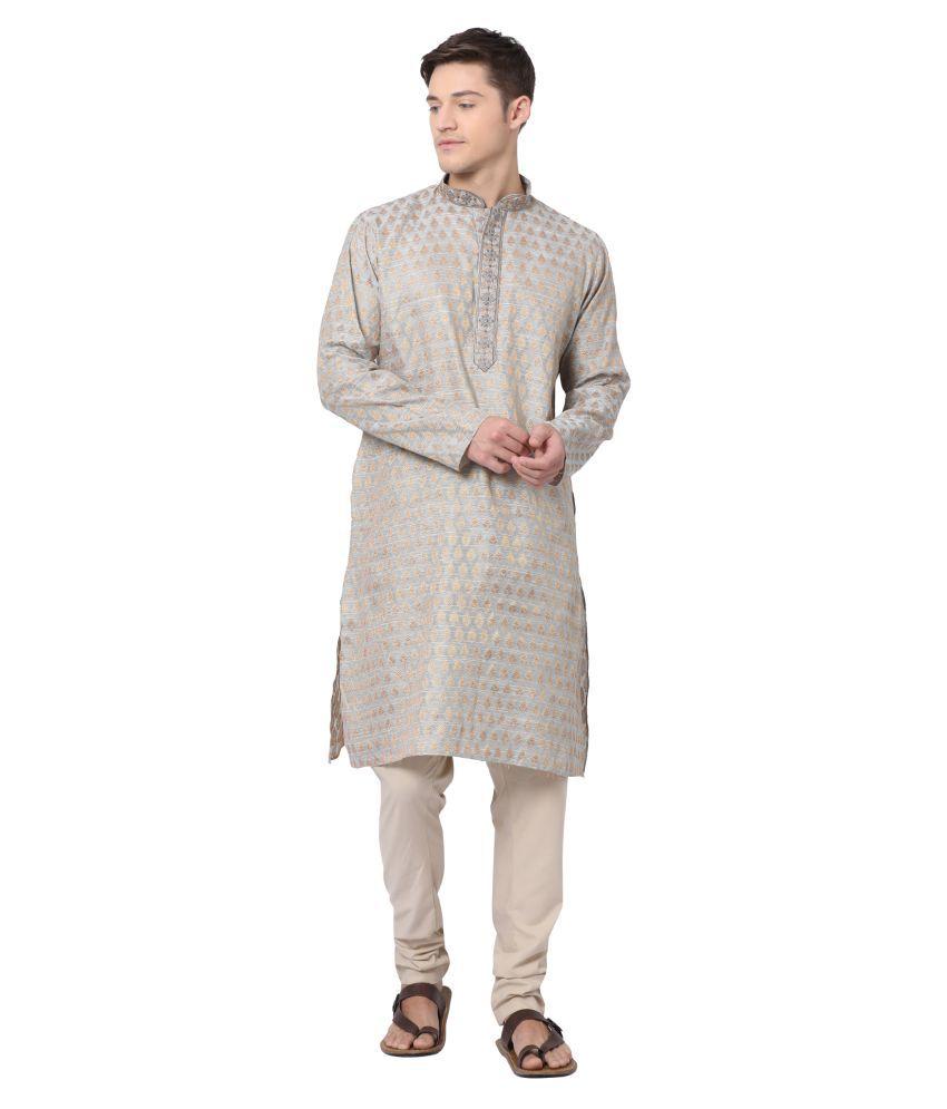 Tabard Silver Silk Blend Kurta Pyjama Set