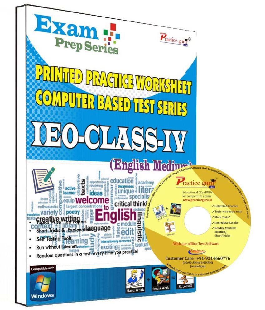 Practice Guru 40 Test ,10 Previous Year Paper,20 Worksheet (Printed) for 4 Class IEO Exam  CD