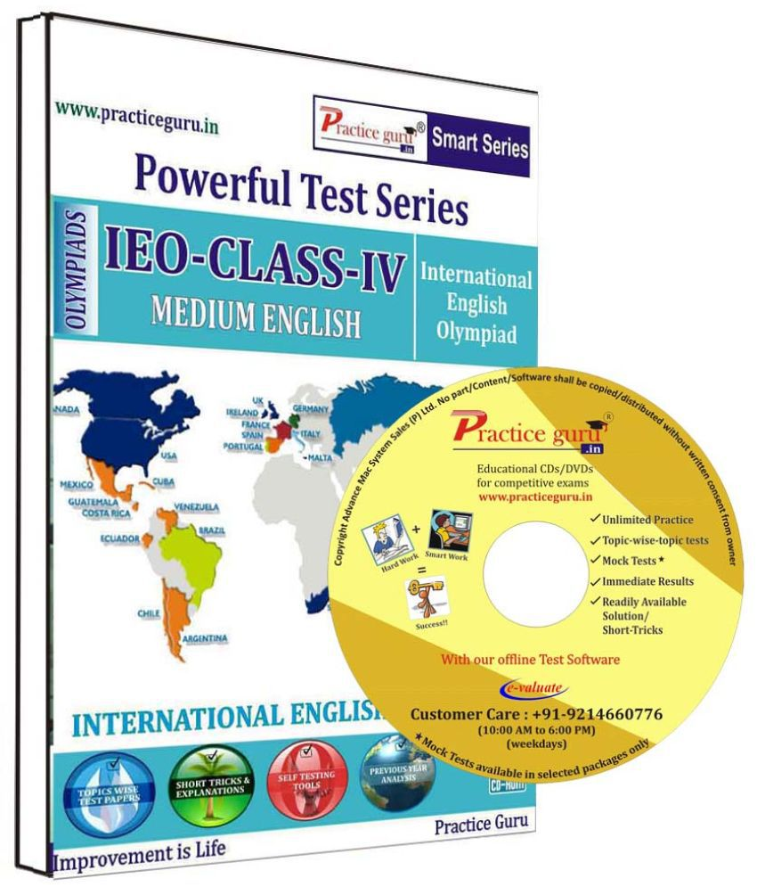 Practice Guru 40 Test 5 Mock Test,10 Previous Year Paper  for 4 Class IEO Exam  CD
