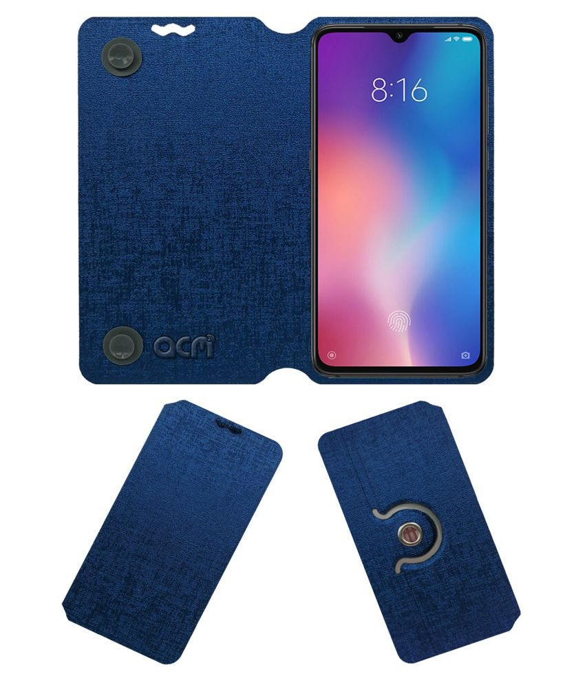 Xiaomi Mi 9 Flip Cover by ACM - Blue Dual Side Stand