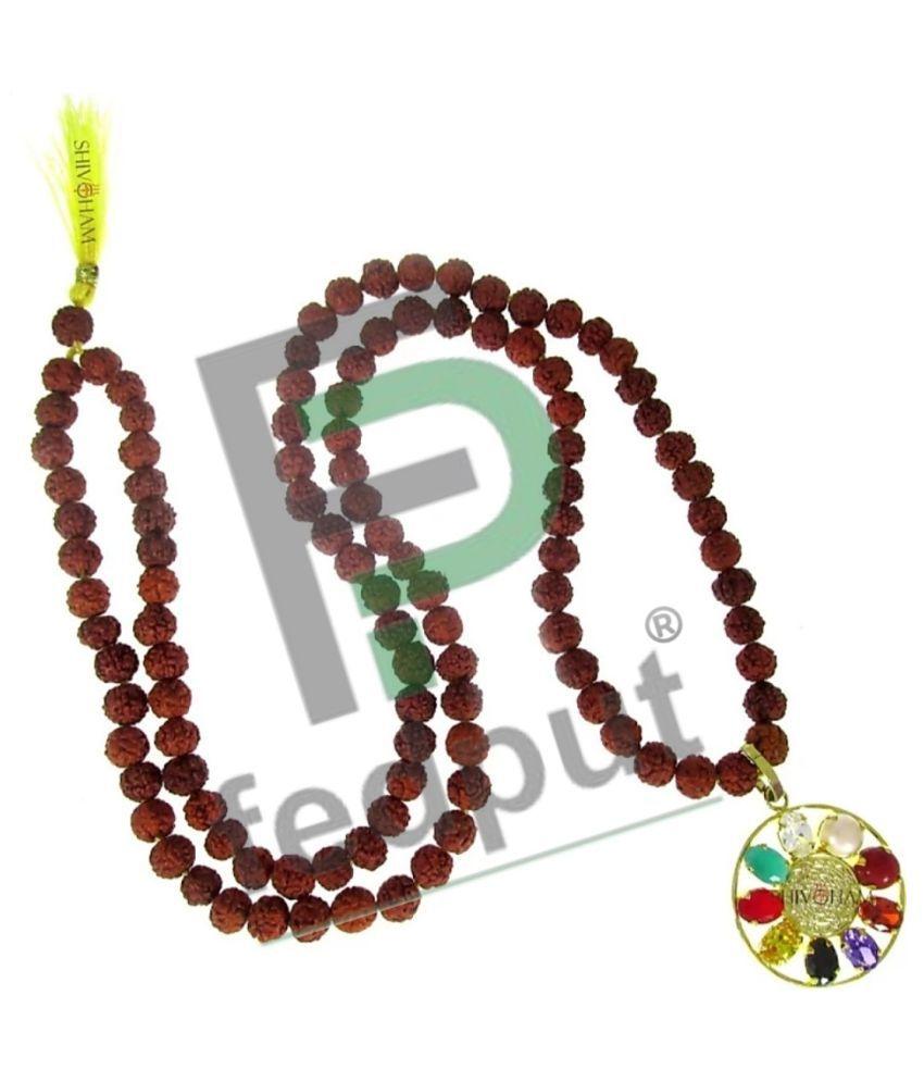 5 Mukhi Rudraksha Mala With Navratna Pendant 5 Face Rudraksha