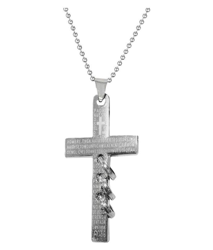 Men Style Christams Gift Crucifix jesus cross Silver Stainless Steel Necklace Pendant