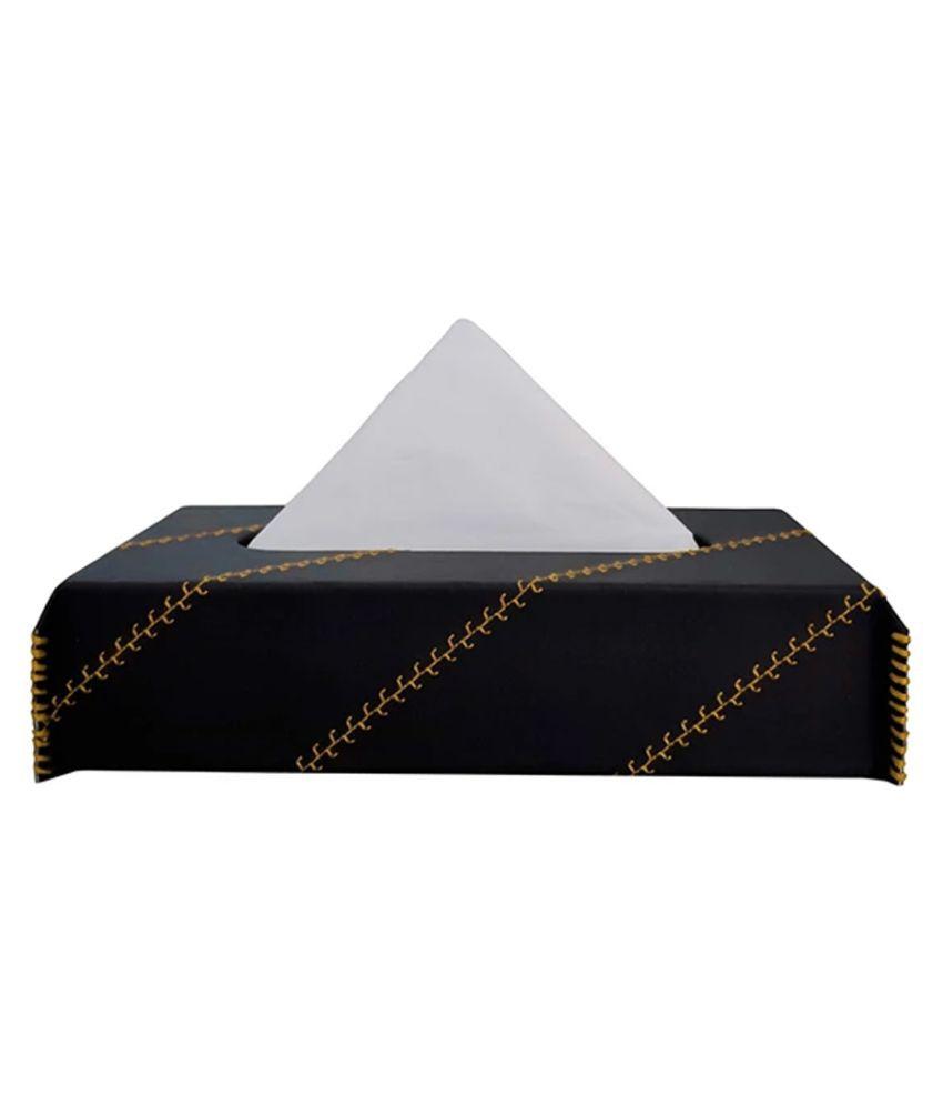 Elegant Car Tissue Dispenser Leather Black