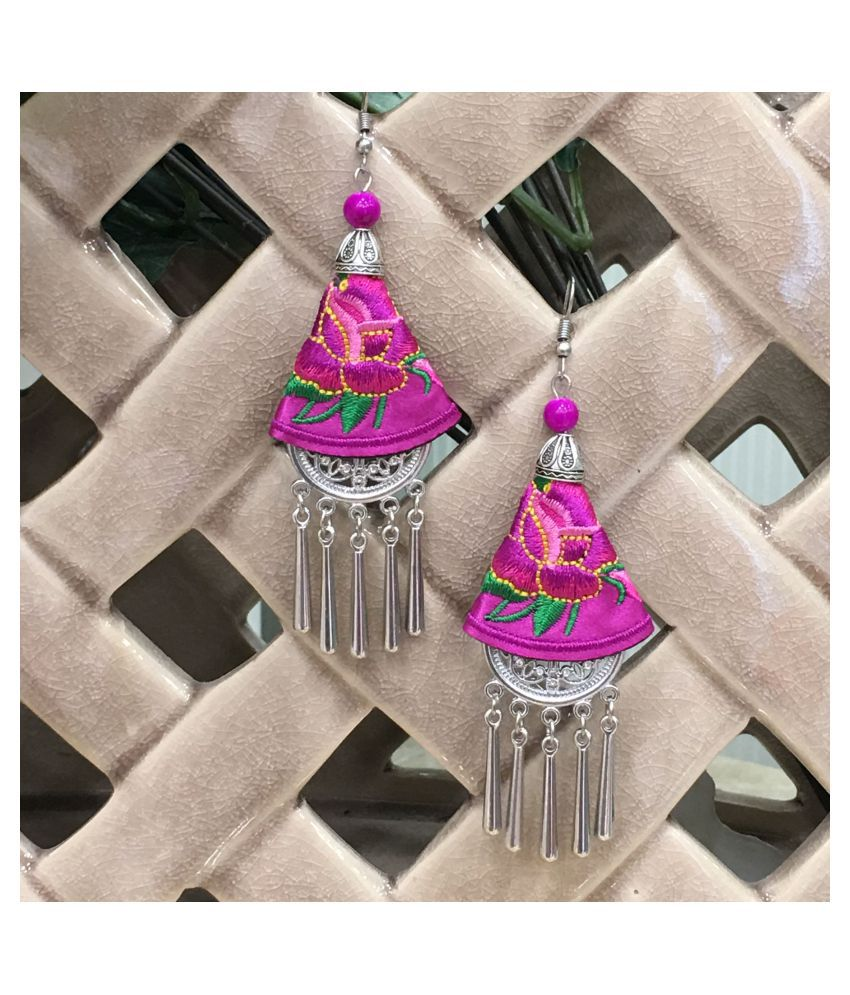 Digital Ethnic Silver Plated Oxidised Metal Alloy Hook Earrings Traditional lightweight Multicolored Embroidered Floral & beads Dangler Earrings Stylish Fancy Party Wear Jewellery For Women and Girl