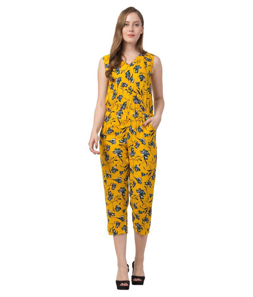 Triraj Yellow Rayon Jumpsuit