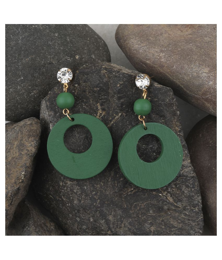 SILVER SHINE Attractive Round Wooden Light Weight Earrings for Girls and Women.