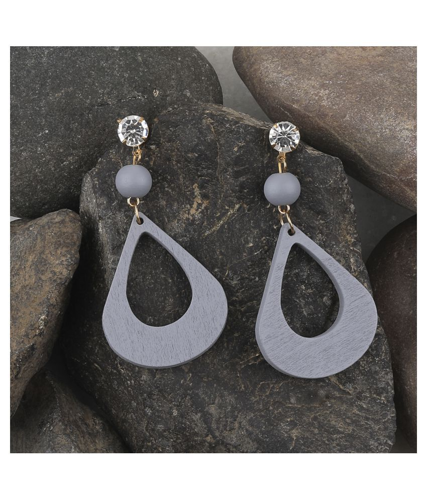 SILVER SHINE Wonderful Attractive  Diamond Wooden Light Weight Dangle Earrings for Girls and Women.