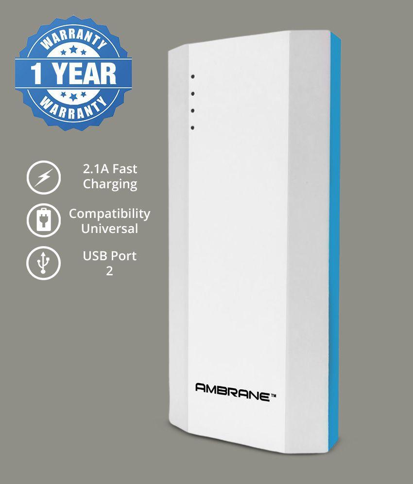 Ambrane P-1111 10000 mAh Power Bank - Blue & White