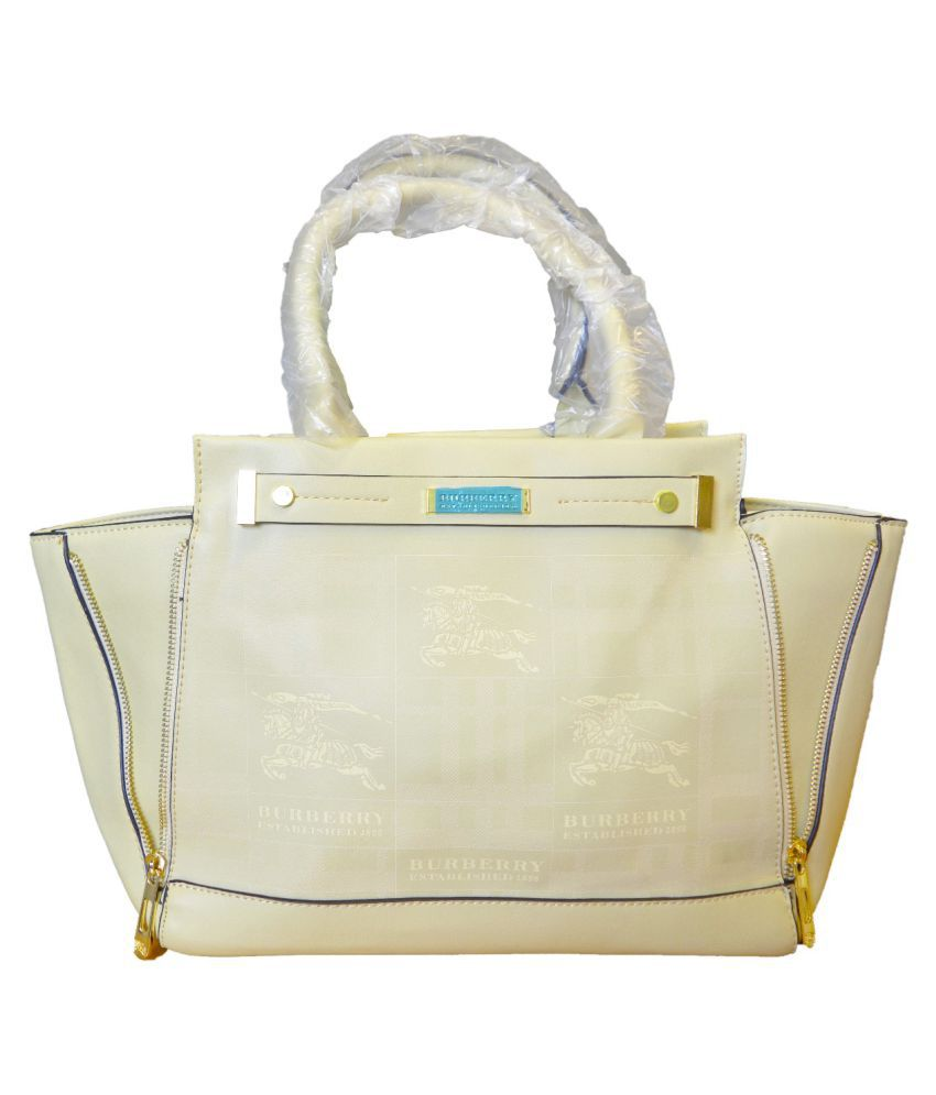 Burberrry Beige Faux Leather Handheld