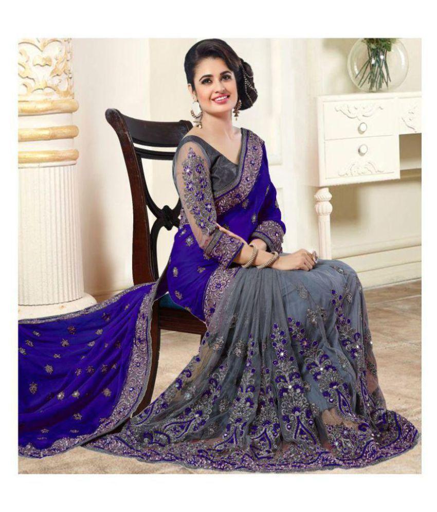 Radhika Fashion Blue & Grey Chiffon Saree