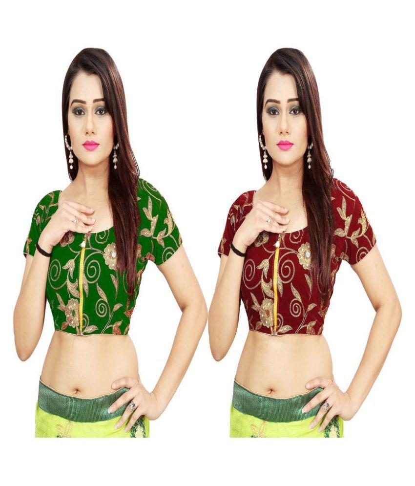 Dhandai Fashion Green Velvet Unstitched Blouse