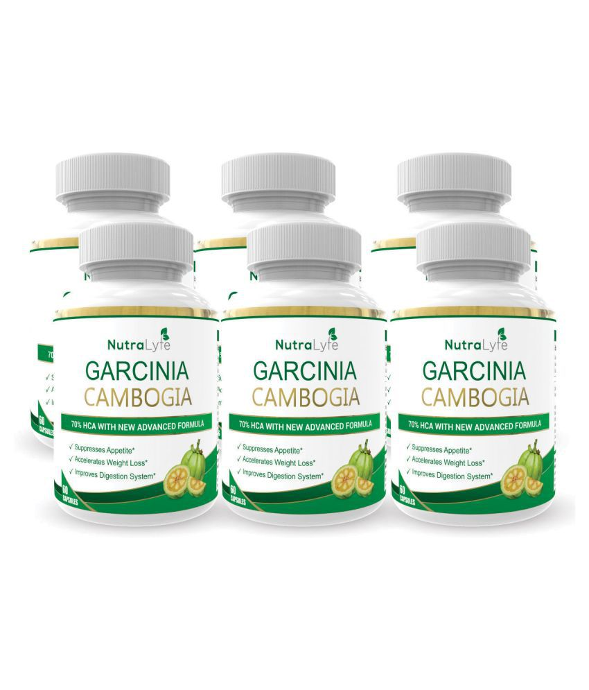 Nutralyfe Garcinia Cambogia Extract With Green Tea 800 Mg Capsules 360 no.s Unflavoured Pack of 6