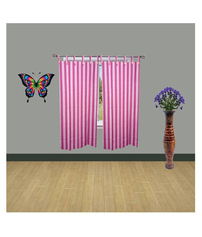 HOMEFLY Set of 2 Window Blackout Room Darkening Loop Cotton Curtains Pink