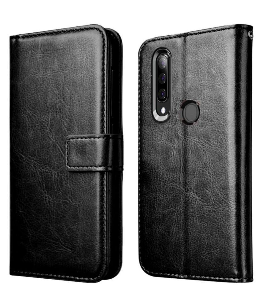 Samsung Galaxy A9 2018 Flip Cover by Mobilive   Black Premium Leather,Inner TPU