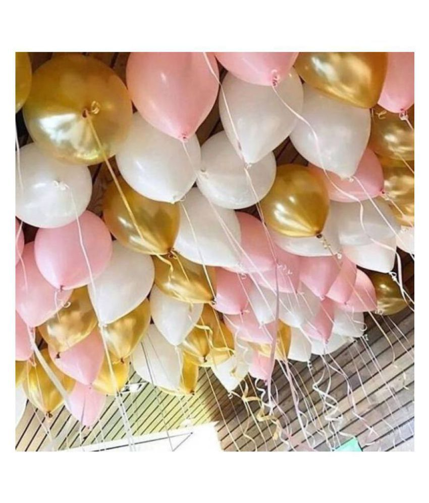 GNGS Party Decoration Balloons (Pink, Gold, White) Pack of 50