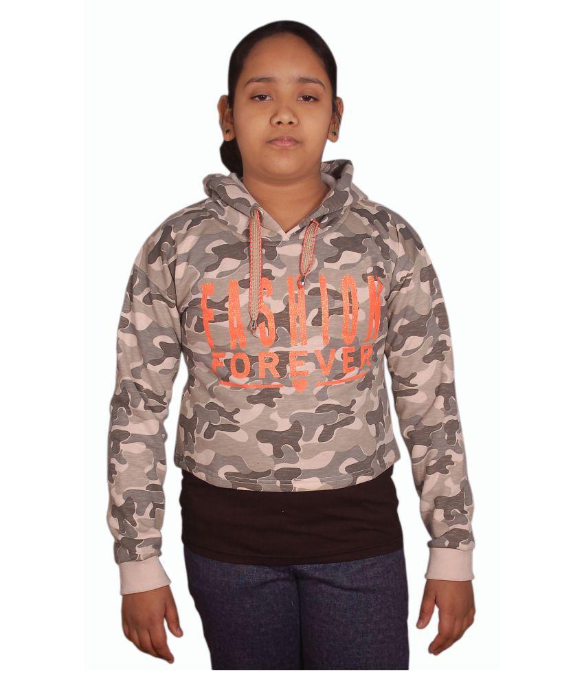 Kids girls military design sweat shirt with hood