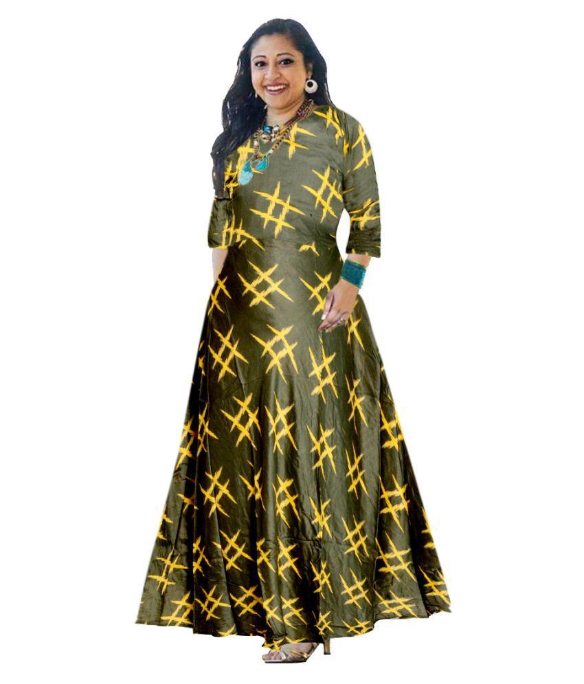 JWF Rayon Green Cut Out Dress