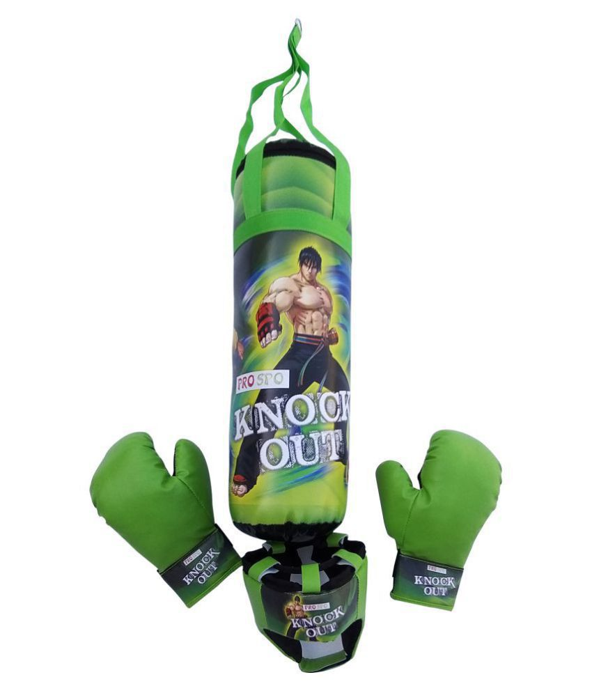 PROSPO'S EXCLUSIVE DESIGN KIDS BOXING SET – (PUNCHING BAG/ GLOVE/HEADGEAR), BEST BOXING SET, FIRST LEARNING BOXING SET – KNOCK OUT GREEN