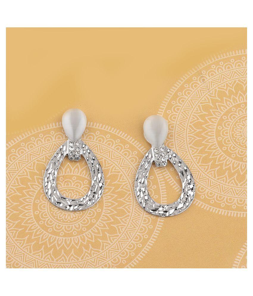 SILVER SHINE Silver Plated Stylish Diamond Dangle  Earring For Women Girl
