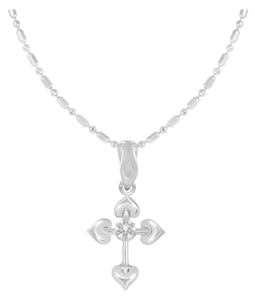 VIRINA Chiristain Cross Rodhium Plated Alloy & Brass Cubic Zirconia God Pendant With Chain For Women & Men