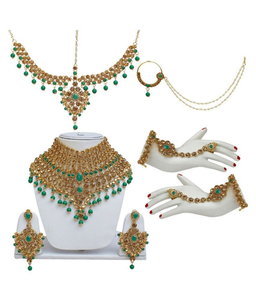 LUCKY JEWELLERY Alloy Green Traditional Gold Plated Necklaces Set