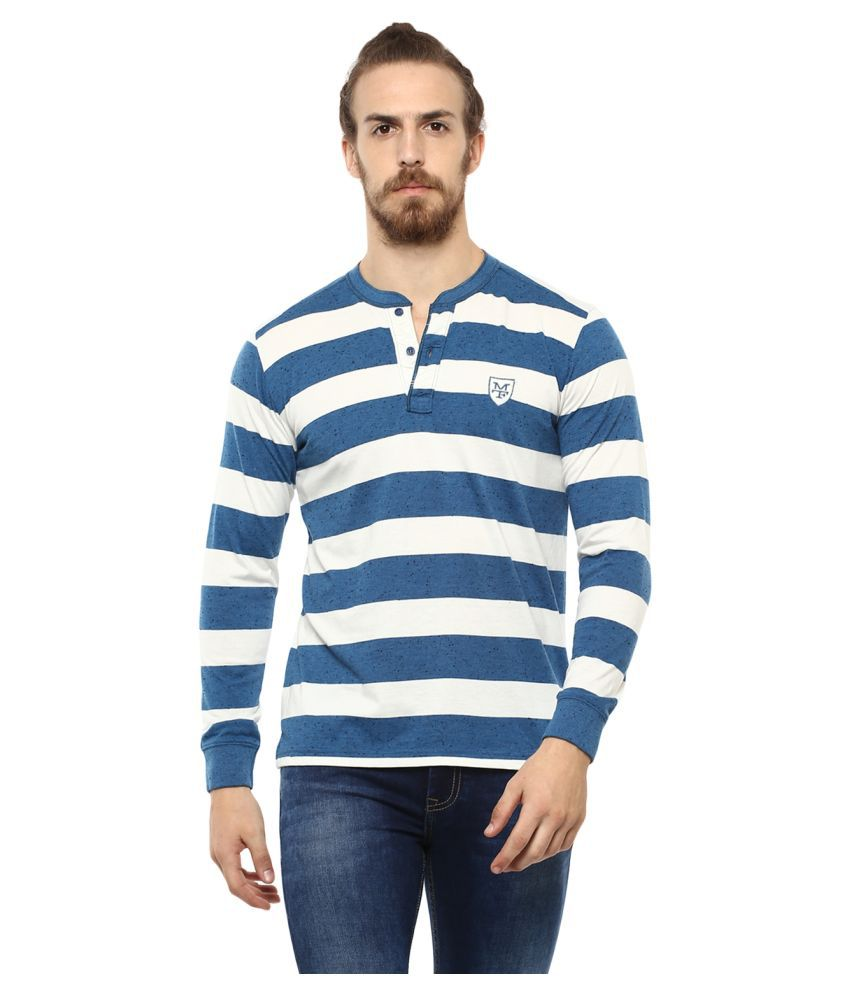 Mufti Polyester Cotton Off-White Striper T-Shirt