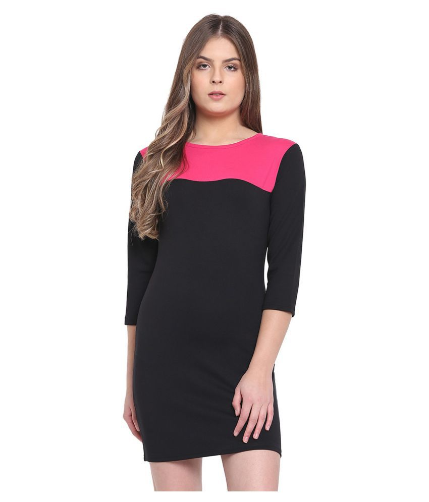 RIVI Cotton Black Bodycon Dress