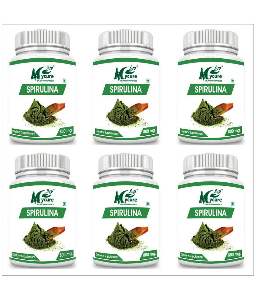 my cure PREMIUM QUALITY SPIRULINA 800 mg Capsule Pack of 6